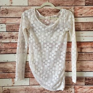 Anthro Meadow Rue Zoey Ivory Lace Overlay Top